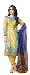 Lebaas Cotton Yellow and Blue Salwar Suit Dupatta Material (Un-stitched) - With Discount and Sale Offer)
