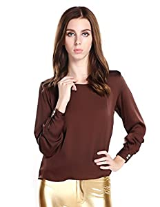 haoduoyi Women's Weaving Back Design Trend Style Blouse X-Large Brown