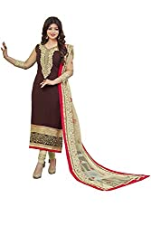Adorn Mania Brown Georgette Embroidered salwar Suits Dress Material