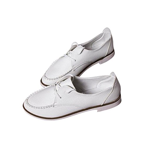 jeansian Moda Donna Casuale Pelle Scarpe Piatte Mocassini Loafers Shoes WSB006 White 36