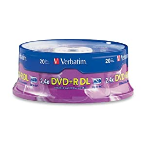 Verbatim 8.5 GB 2.4X Double Layer Recordable Disc DVD plus R DL Discs, 20-Disc Spindle 95310