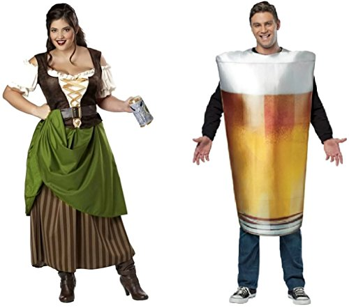 Tavern Maiden & Beer Pint Couples Costume Size:1X/One Size