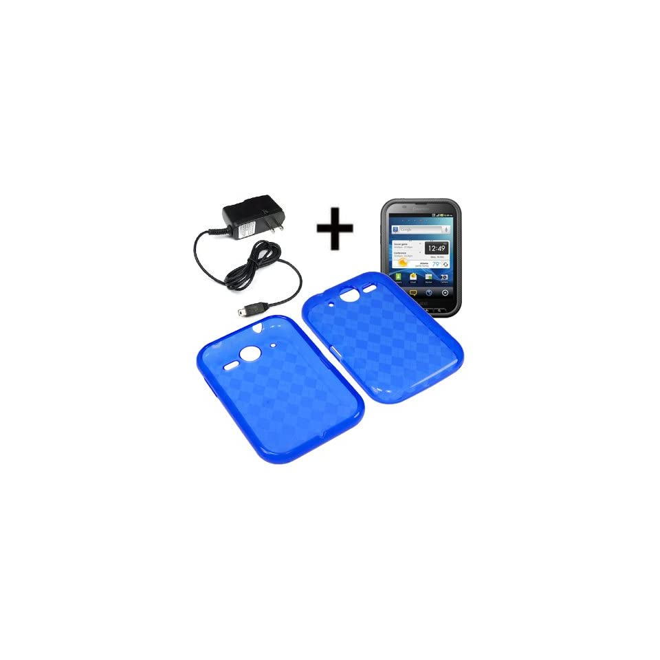 BW TPU Sleeve Gel Cover Skin Case for AT&T Pantech Pocket, Nuli P9060 + Travel Charger Blue Checker