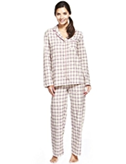 Pure Cotton Revere Collar Heart & Dobby Checked Pyjamas