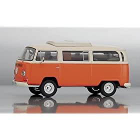 diecast car of VW T2-a Camping Bus Orange Creme 1:43 Diecast Model