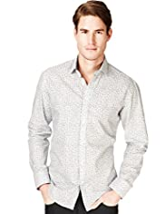 "2"" Longer Blue Harbour Pure Cotton Fine Leaf Print Shirt"