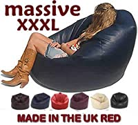 Xxx-l Beanbags Huge Mega Size Red Bean Bag 16cuft Faux Leather Beanbag Gaming Chair by BEAUTIFUL BEANBAGS LTD