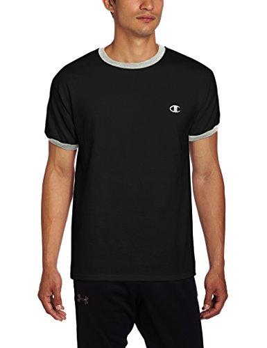 Champion Men's Jersey Ringer T-Shirt, Black/Oxford Gray, Small