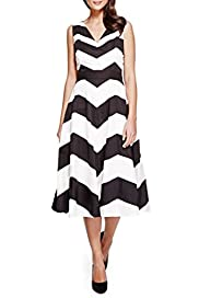 Pure Cotton Chevron Prom Dress with Belt [T62-6682J-S]
