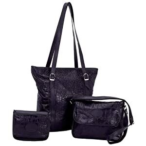 Embassy Black Genuine Leather 3pc Purse Set