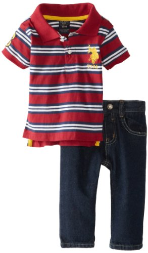 U.S. Polo Assn. Baby-Boys Infant Striped Polo With Five Pocket Jean, Burgundy, 18 Months