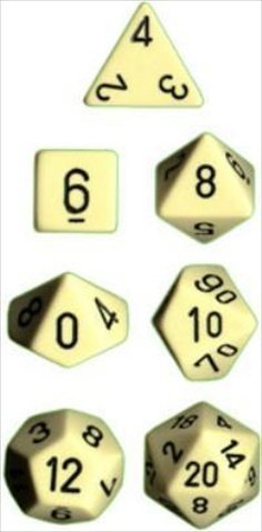 Chessex Manufacturing 25400 Opaque Ivory With Black Polyhedral Dice Set Of 7 - 1