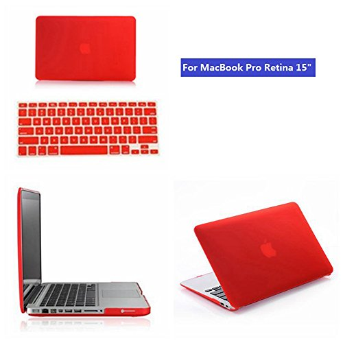 """Mooso Macbook Pro Retina 15"""" Frost Matte Surface Rubberized Hard Shell Case Cover With Silicone Skin Protective For Apple Macbook Pro Retina 15"""" (Apple Macbook Pro Retina15"""", Red)"""