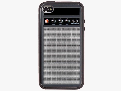 Rock Guitar Amp Amplifier Iphone 4 / 4S Black Rubber Bumper Case Cover