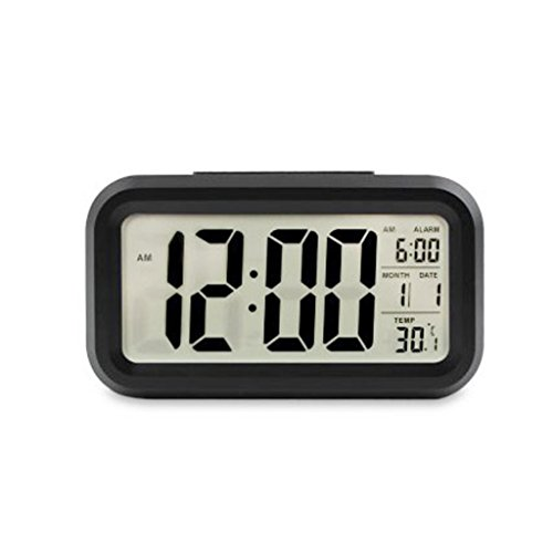 ESH 5.3 Smart, Simple and Silent LED Digital Alarm Clock w/ Date Display, Repeating Snooze and Sensor Light + Night Light (Black)