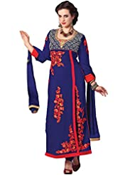 Manvaa Blue Georgette Straight Embroidered Suit