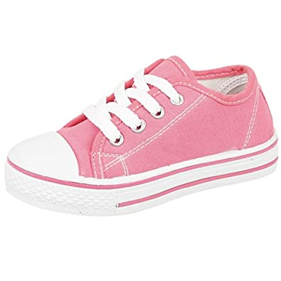 C8-Baltimore Youths Boys Girls Unisex lace up canvas Shoes -36 (UK 3) Hot Pink