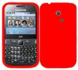 Phonedirectonline- Red silicone skin case cover pouch for Samsung galaxy chat S3350