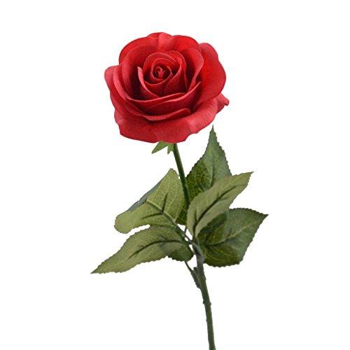 Louis Garden 17″ Artificial Flowers Fake Rose – Red