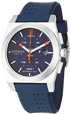 Men's Titanium Stealth Quartz Chronograph Blue Dial Rubber Strap
