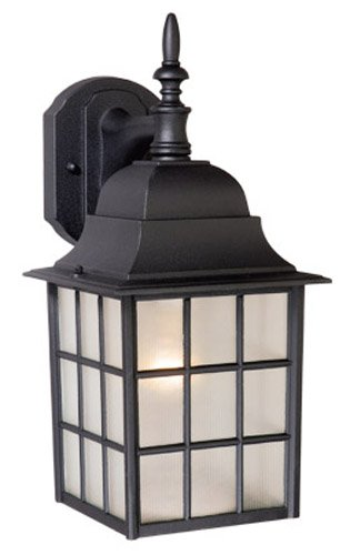 Vaxcel USA OW36763TB Vista 1 Light Mission Outdoor Wall Lamp Lighting Fixture in Black, Glass