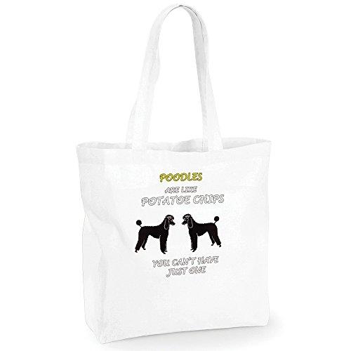 Dogs are like Chips Poodles, BiancoWestford Mill Maxi bag for life Borsa shopper da spalla riutilizzabile Borsa Tote in cotone con Motivo Colorato.Capacità-18 litres.