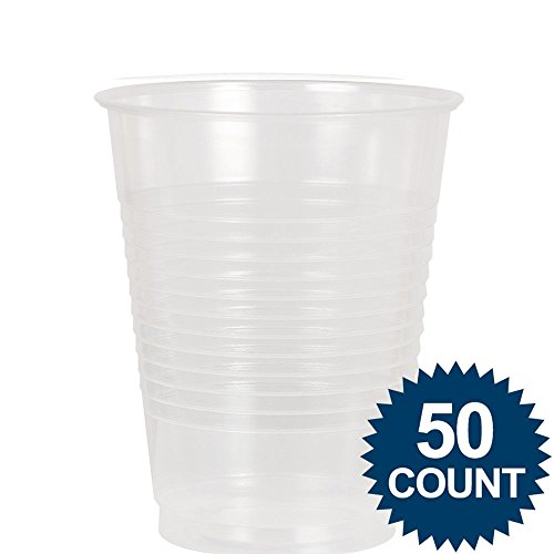 Amscan Big Party Pack 50 Count Plastic Cups, 12-Ounce, Clear