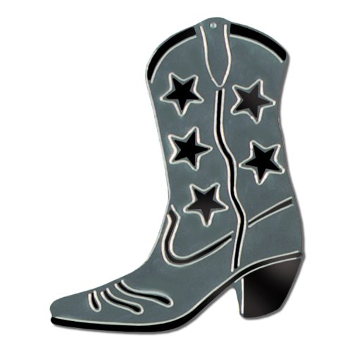 Foil Cowboy Boot Silhouette (silver) Party Accessory  (1 count)