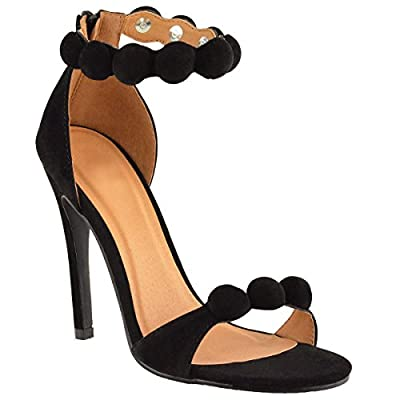 Fashion Thirsty Womens Strappy Stiletto High Heel Sandals Embellished Cuff Peep Toe Shoe Size