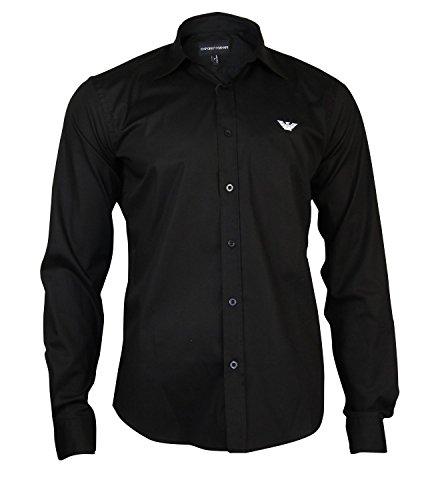 Emporio Armani -  Camicia Casual  - Basic - Maniche lunghe - Uomo nero X-Large