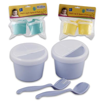 4pc Plastic Snack Cups with Fork & Spoon - 1
