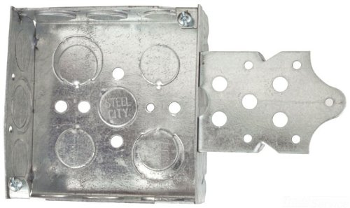 Steel City 52151B1234 Pre-Galvanized Steel Square Box with a B-Bracket and 1/2-Inch and 3/4-Inch Knockouts