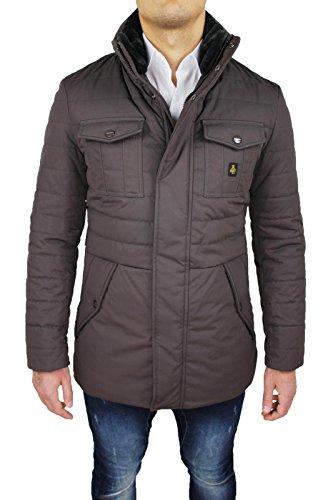 Giubbotto piumino uomo Refrigiwear art G64600 giubbotto giaccone marrone testa di moro invernale lungo Man's Jacket (M)