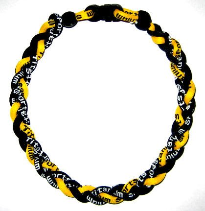 "Titanium Germanium Tornado Baseball Necklace - 20"" Yellow/black"