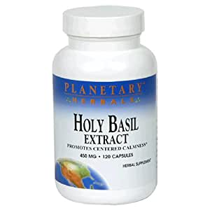 Planetary Herbals Holy Basil Extract, 450 mg, Capsules, 120 capsules (Pack of 2)