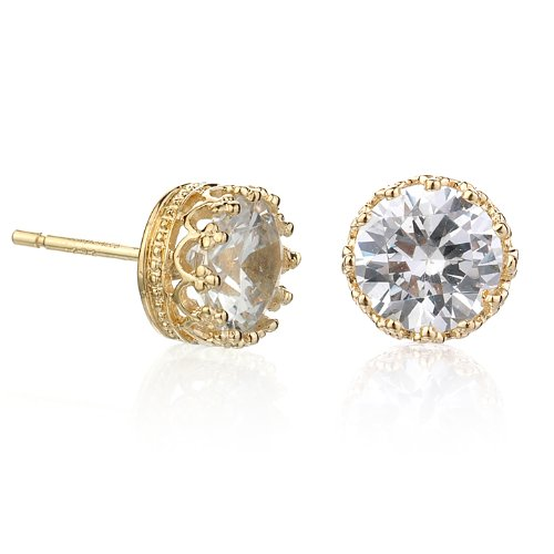 8mm GOLD PLATE CROWN EARRING WITH WHITE CZ