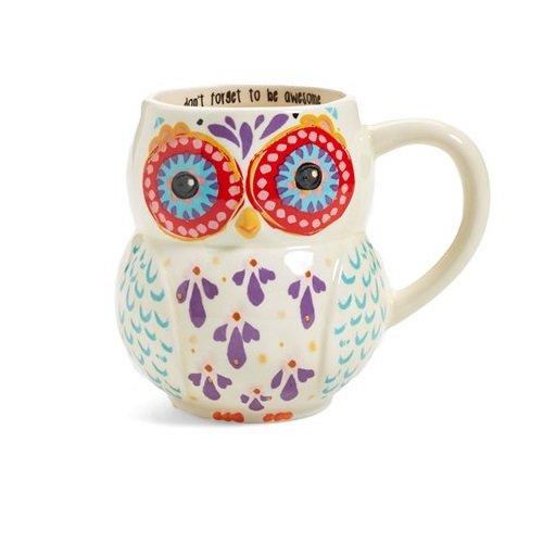 Natural Life MUG181 Folk Owl Mug, Don't Forget Awesome, White