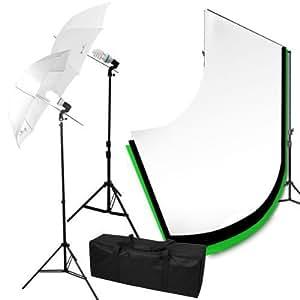 125w kit d'éclairage continu *2 Parapluies ,Kit support de fond réglable avec 3*Toile Tissu de fond,éclairage continu,sac de transport
