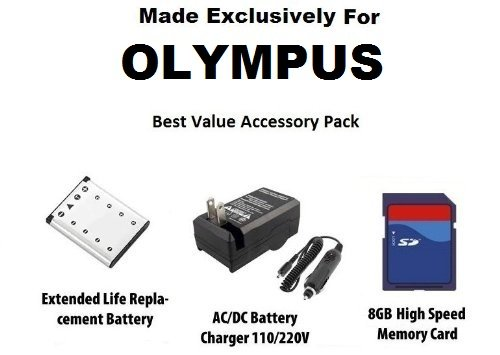 Extended Life Replacement Battery Pack For The Olympus LI-42B 1000MAH! For The Olympus Stylus 7010 7040 5010 7030 FE-4030 FE-5020 FE-4000 FE-4010 720 sw Stylus sw 725 Stylus 770 Stylus 790 SW Stylus 850 sw Stylus 1050 SW tough 3000 X-560WP Digital Camera + 8GB High Speed Error Free Memory Card + 110/220V 1 Hour Home & Car Charger + SSE Cleaning Cloth