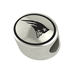 New England Patriots Silver NFL Bead Fits Most European Style Charm Bracelets