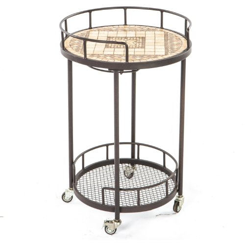 Alfresco Home 21-1310 Basilica Indoor Outdoor Marble Mosaic Serving Cart
