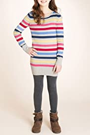 Pure Cotton Round Neck Stripe Knitted Dress [T74-4406M-S]