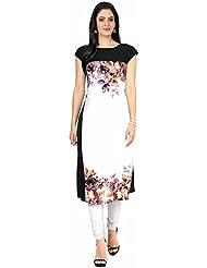 Queen Creation Women's Crepe White Colour Printed Kurti(White Colour) - B01LH7DAS8