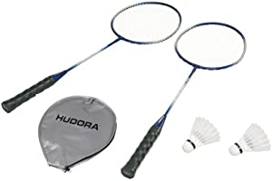 Hudora - 76411 - Jeu de Plein Air et Sport - Badminton No Limit RS - 99 - 2 Raquettes en Acier - 2 Volants