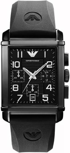 Emporio Armani Men's Quartz Watch with Black Dial Analogue Display and Black Rubber Strap AR0335