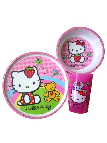 Hello Kitty 3Piece Mealtime Set Plate, Bowl & Tumbler front-915624