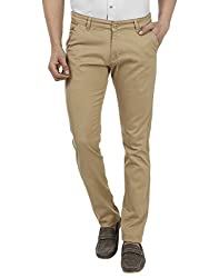 FEVER Men Solid Trousers, Beige