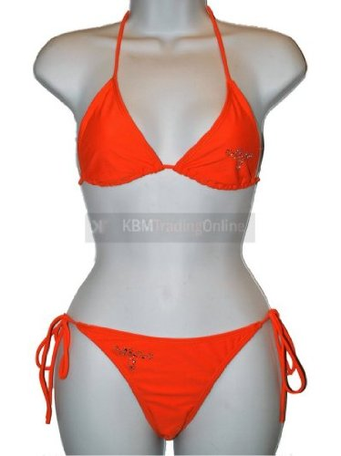 Girls Teens Orange Diamonte Stud Bikini Swimming Costume Swimsuit Swimwear 11-12 years approx