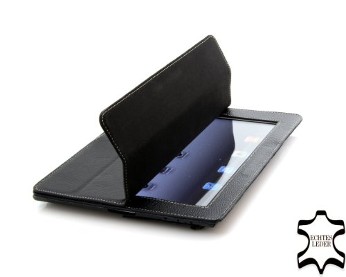 StilGut Couverture Case Cover made from Finest Leather for Apple iPad 2 with Smart-Cover Function in Black - Version 2