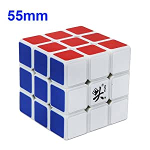 Magic puzzle speed cube 3X3X3 6 colors Dayan 55MM white edge professional